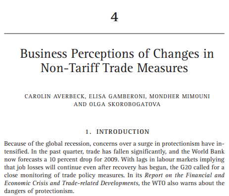 Business Perceptions of Changes in Non-Tariff Trade Measures